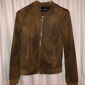Brown Faux Leather Jacket with Gold Detail